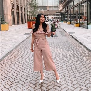 Showpo Blush Linen off the shoulder Jumpsuit